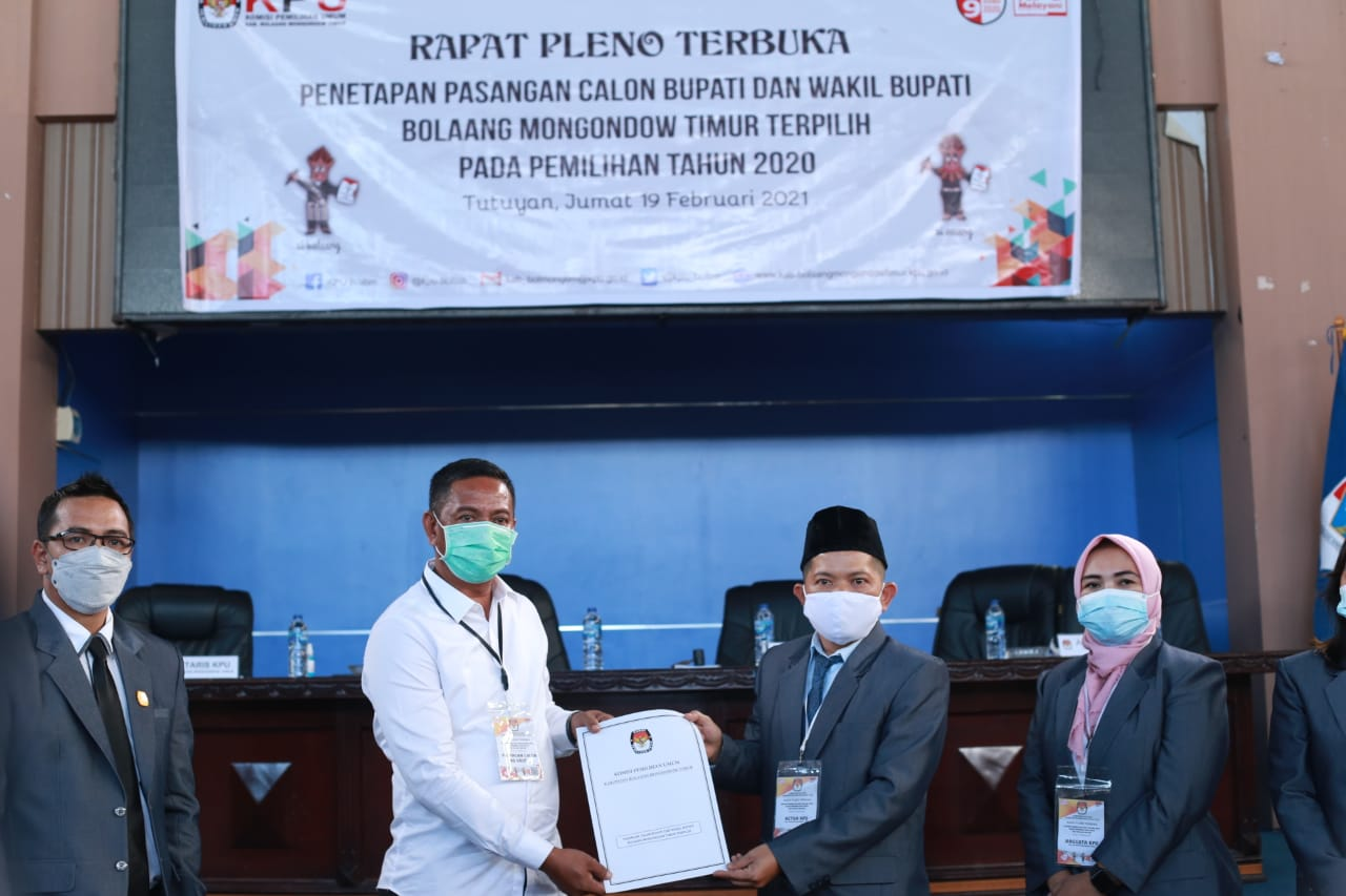 KPU Tetapkan Paslon SSM-OPPO Sebagai Bupati dan Wakil Bupati Boltim Terpilih