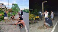 Pemuda Motongkad Utara dan Tengah Gotong Royong Lakukan Pemasangan Lampu di Jalan Trans