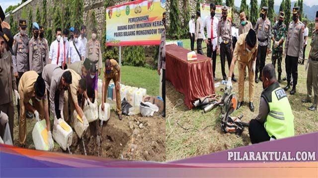 Polres Boltim Musnahkan 1.320 Liter Miras dan 50 Buah Knalpot Bising
