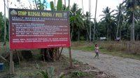 Larang PETI di Simbalang, Polres Boltim Pasang Baliho Peringatan